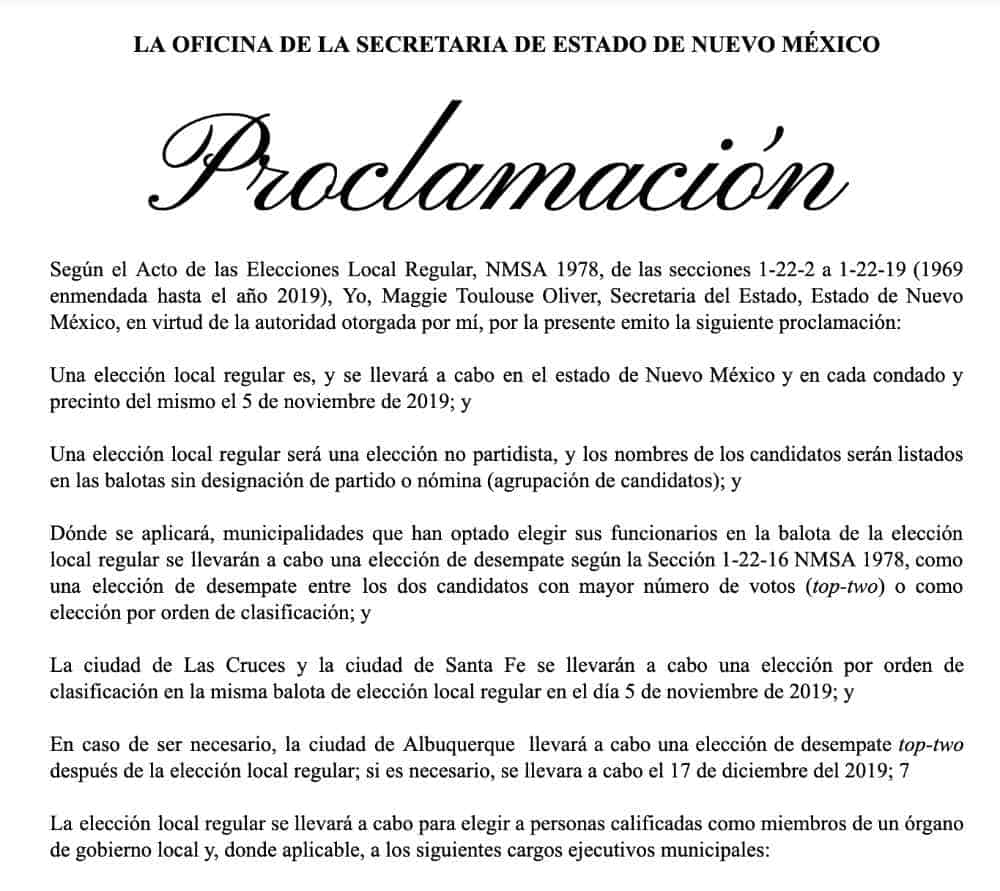 2019 11 05 general election proclamation spanish
