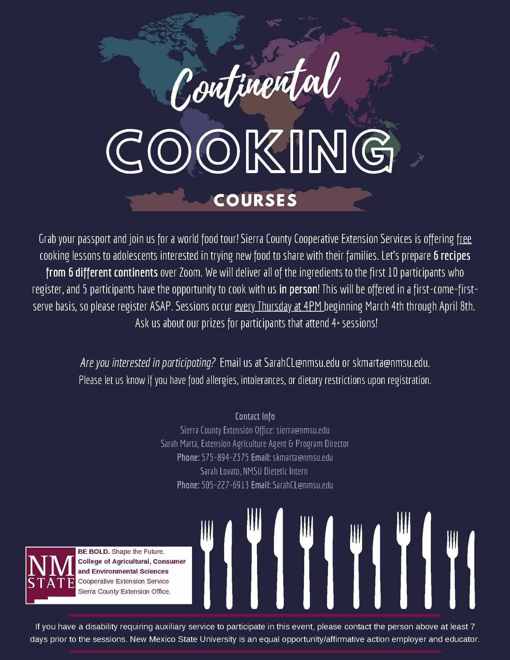continental cooking course sierra county extension