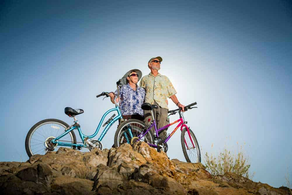 couple biking in sierra county