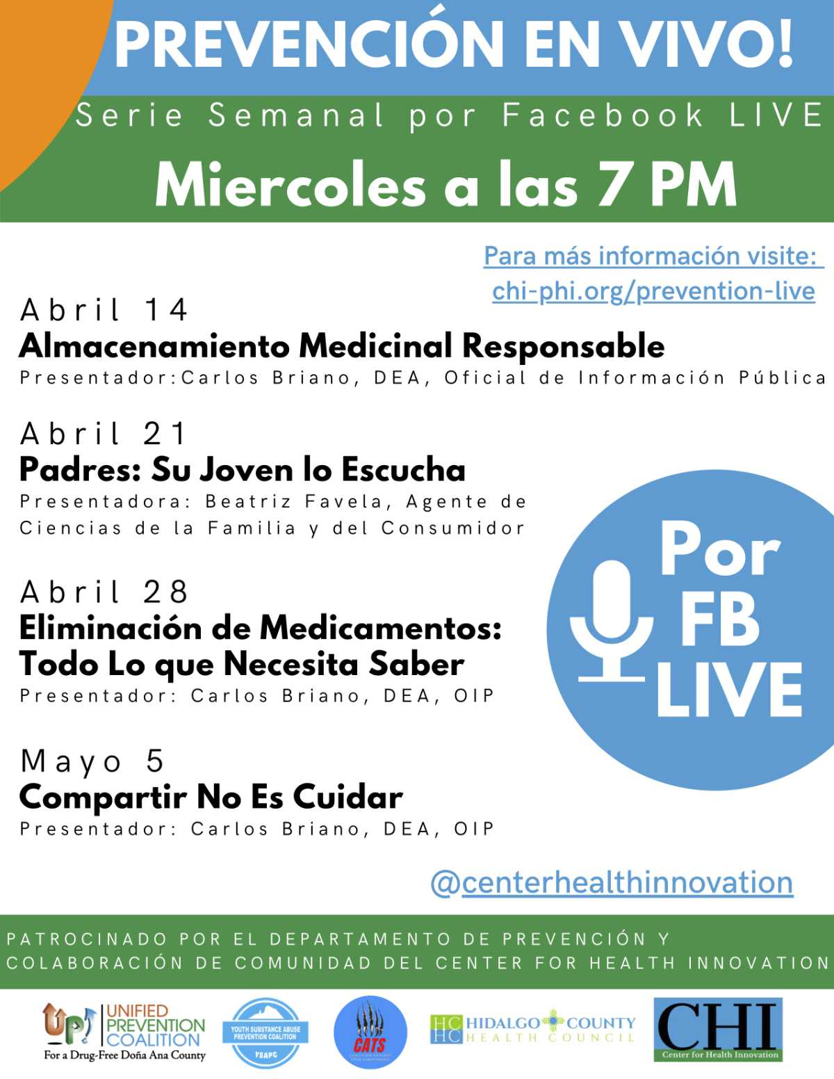 prevention live weekly facebook live series april 2021 spanish