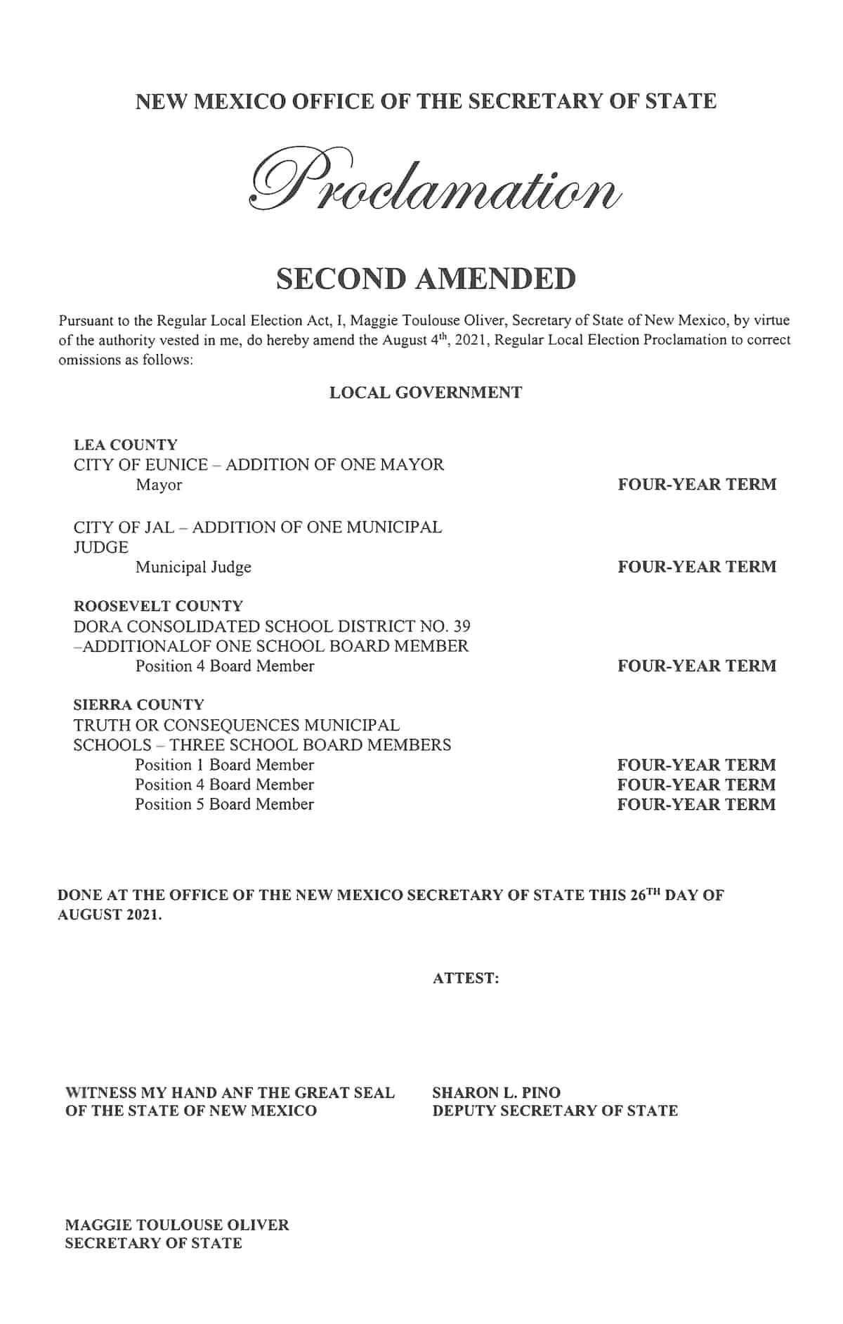 proclamation amendment 2021 09 01