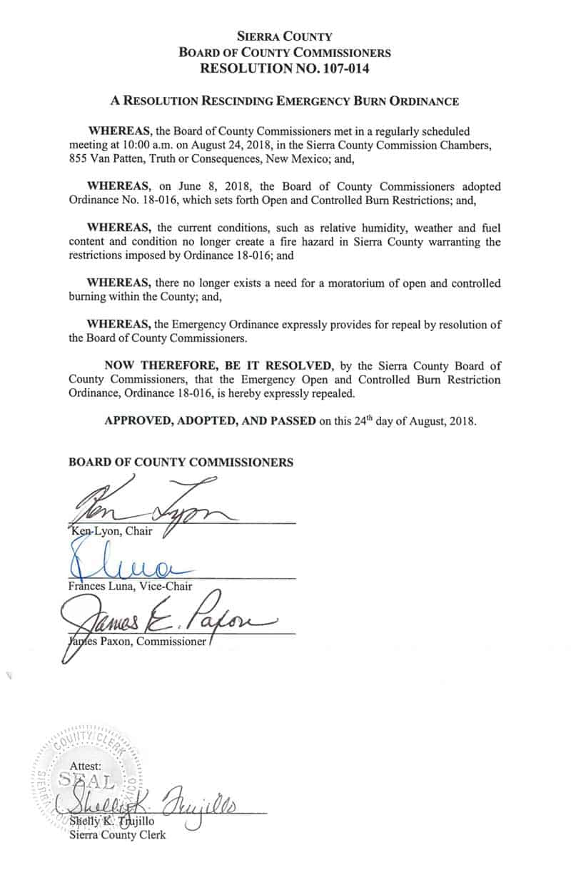 sierra county resolution 107 014 rescinding emergency burn ordinance